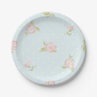 pale blue polka dot cream vintage floral pink paper plate