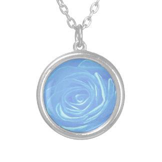 Pale Blue Rose Round Pendant Necklace