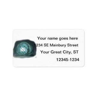 Pale Blue Rose Spolighted Cutout Address Label