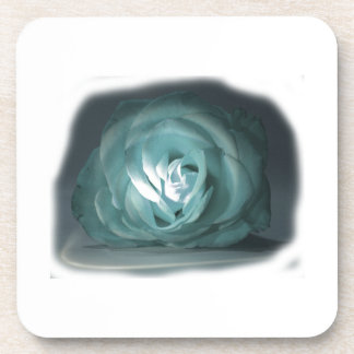 Pale Blue Rose Spolighted Cutout Coasters