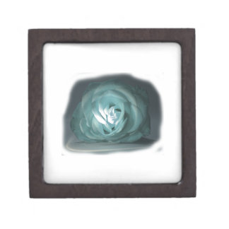 Pale Blue Rose Spolighted Cutout Jewelry Box