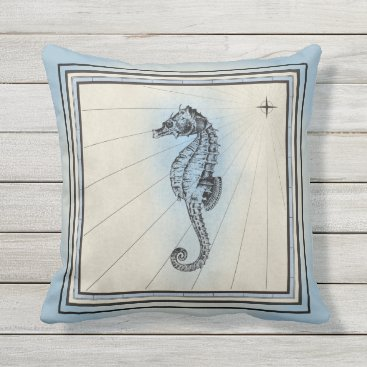 Beach Themed Pale Blue Seahorse Design Throw Pillow