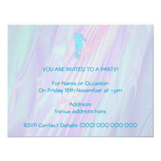 Pale Blue Seahorse on Background of Pastel Colors Personalized Invitations