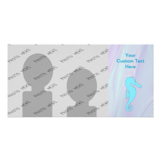 Pale Blue Seahorse on Background of Pastel Colors Picture Card