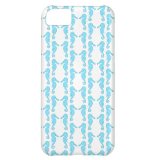 Pale Blue Seahorse Pattern iPhone 5C Covers