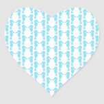 Pale Blue Seahorse Pattern Heart Stickers