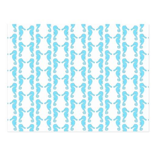 Pale Blue Seahorse Pattern Postcard