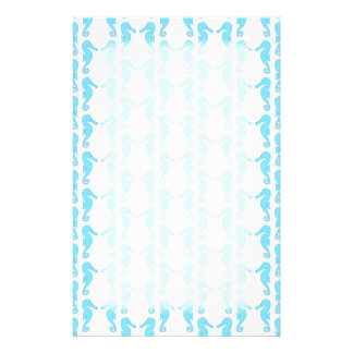 Pale Blue Seahorse Pattern Stationery