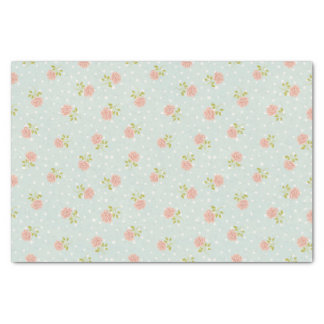 "pale blue shabby chic polka dot white pink floral 10"" x 15"" tissue paper"