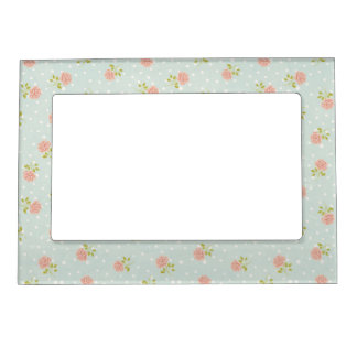 pale blue shabby chic polka dot white pink floral photo frame magnets