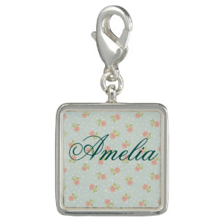 pale blue shabby chic polka dot white pink floral photo charm