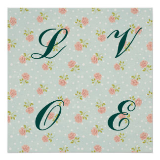 pale blue shabby chic polka dot white pink floral poster