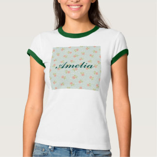 pale blue shabby chic polka dot white pink floral T-Shirt