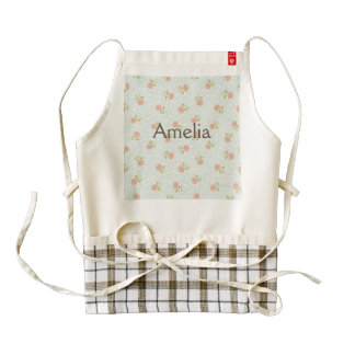 pale blue shabby chic polka dot white pink floral zazzle HEART apron