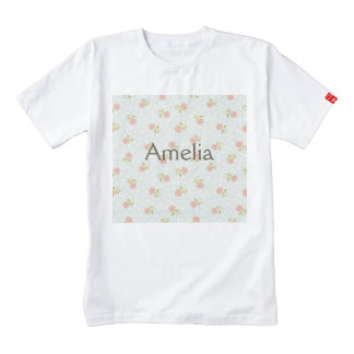 pale blue shabby chic polka dot white pink floral zazzle HEART T-Shirt