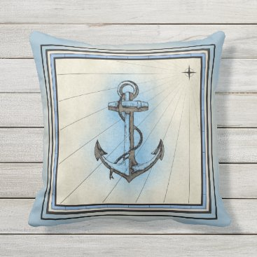 Beach Themed Pale Blue Ship Anchor Design Throw Pillow