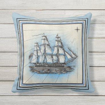 Beach Themed Pale Blue Ship Design Throw Pillow