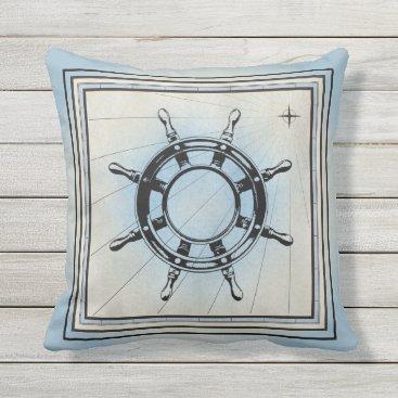 Beach Themed Pale Blue Ship Steering Wheel Design Outdoor Pillow
