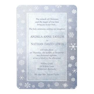 Pale Blue Snowflakes Elegant Christmas Wedding Card