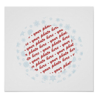 Pale Blue Snowflakes Photo Frame Posters