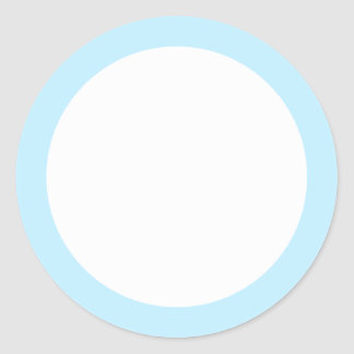 Pale blue solid color border blank round sticker