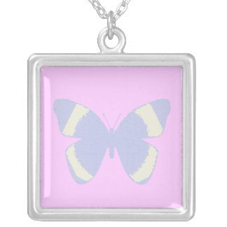 Pale blue stained glass butterfly on pink square pendant necklace