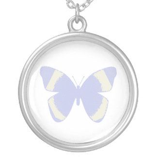 Pale blue stained glass butterfly on white round pendant necklace