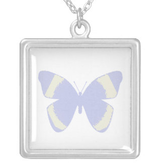 Pale blue stained glass butterfly on white square pendant necklace