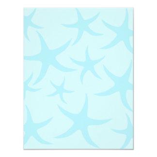 Pale Blue Starfish Pattern. 4.25x5.5 Paper Invitation Card