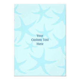 Pale Blue Starfish Pattern. 5x7 Paper Invitation Card