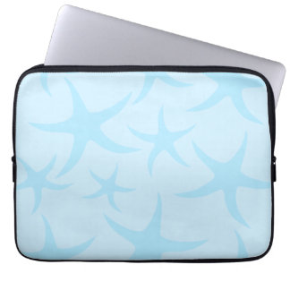 Pale Blue Starfish Pattern. Computer Sleeves