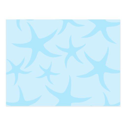 Pale Blue Starfish Pattern. Postcard