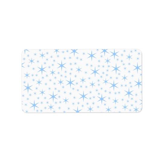 Pale Blue Stars Pattern. Label