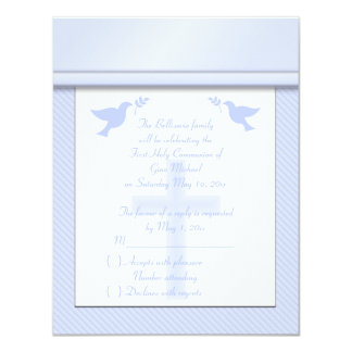 Pale Blue Stripe First Holy Communion RSVP Card