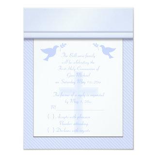 "Pale Blue Stripe First Holy Communion RSVP Card 4.25"" X 5.5"" Invitation Card"