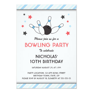 Pale blue stripes and stars bowling birthday party card