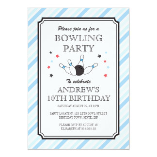 Pale blue stripes bowling birthday party 5x7 paper invitation card
