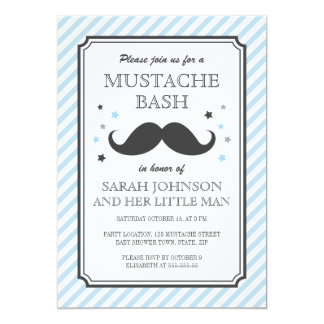 Pale blue stripes little man mustache baby shower card