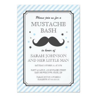 Pale blue stripes little man mustache baby shower announcements