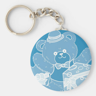 Pale Blue Teddy Bear for Boys Basic Round Button Keychain