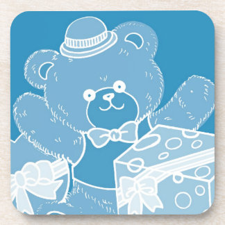 Pale Blue Teddy Bear for Boys Beverage Coaster