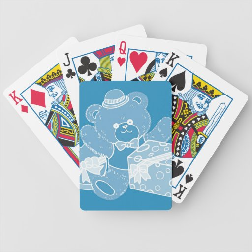 Pale Blue Teddy Bear for Boys Playing Cards