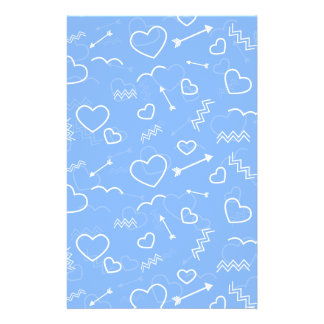 Pale Blue Valentines Love Heart and Arrow Doodles Flyer