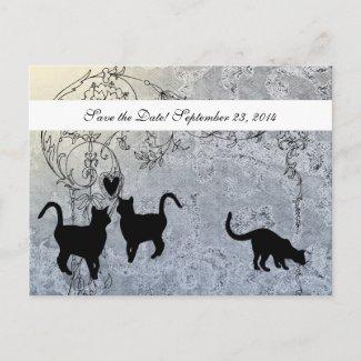 Pale Blue Vintage Cat Save the Date