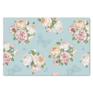 "pale blue,vintage,floral,butterfly,victorian,cute, 10"" x 15"" tissue paper"
