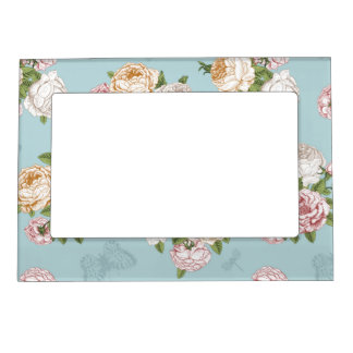 pale blue,vintage,floral,butterfly,victorian,cute, photo frame magnet