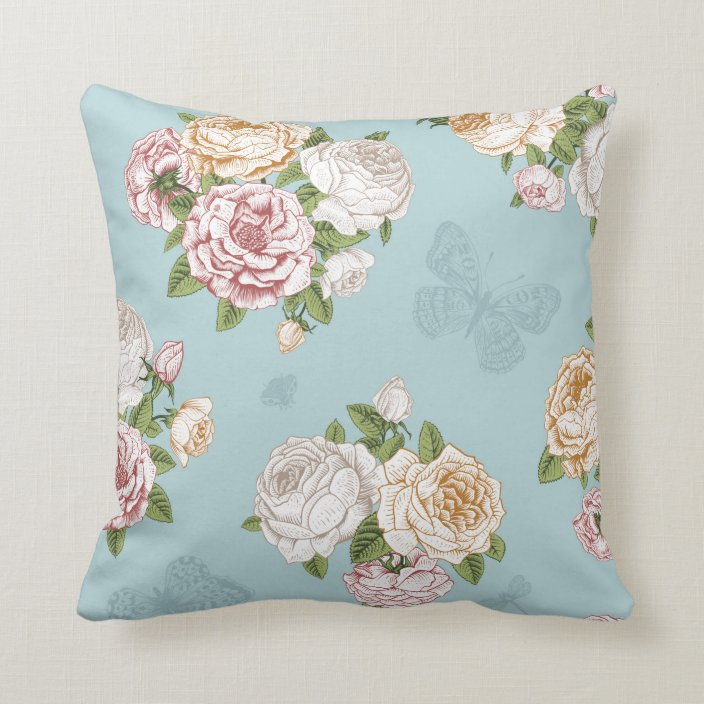 Pale Blue Floral Pattern Throw Pillow