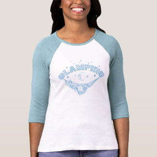 Pale Blue Vintage Glamping Lady Design Tee Shirts