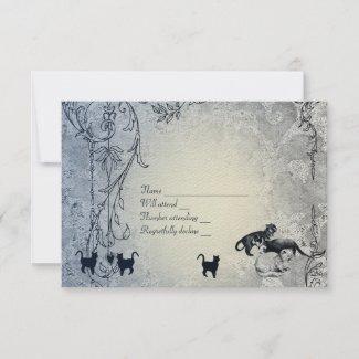Pale Blue Vintage Shabby Garden Cat RSVP with env zazzle_invitation