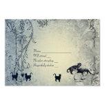 Pale Blue Vintage Shabby Garden Cat RSVP with env 3.5x5 Paper Invitation Card